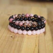 Load image into Gallery viewer, Natural Black Onyx, Rhodonite & Rose Quartz Stackable Bracelets