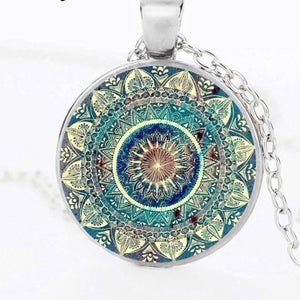 Yoga Cabochon Glass Pendant Necklace