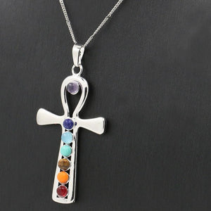 Reiki Ankh Health-Amulet Pedant & Necklace, with Chakra Stones