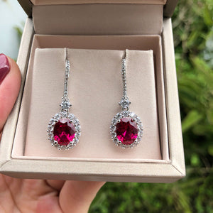 Ruby Sapphire Gemstone Vintage Drop Earrings