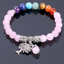 Load image into Gallery viewer, Natural Pink-Crystal Bracelet with Prayer-Tree Design