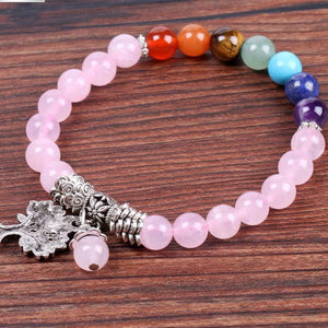 Natural Pink-Crystal Bracelet with Prayer-Tree Design