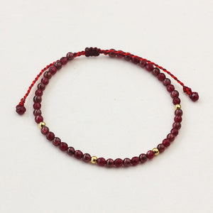 All-Natural Garnet Stone String Bracelet