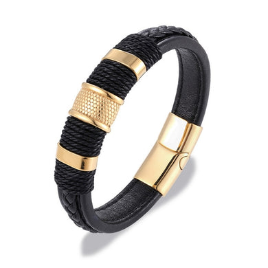 Leather Multi-layer Braided Bracelet with Titanium Steel Buckle