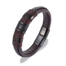 Load image into Gallery viewer, Leather Multi-layer Braided Bracelet with Titanium Steel Buckle