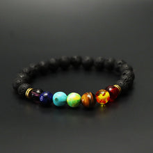 Load image into Gallery viewer, Black Lava Chakra Bracelet