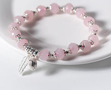 Load image into Gallery viewer, Sterling Silver Rose Quartz Strand Bracelet