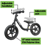 "Mamba Sport 12"" Balance Bike Black features"