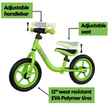 "Mamba Sport 12"" Balance Bike Green features"