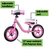 "Mamba Sport 12"" Balance Bike Pink features"