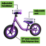 "Mamba Sport 12"" Balance Bike Purple features"