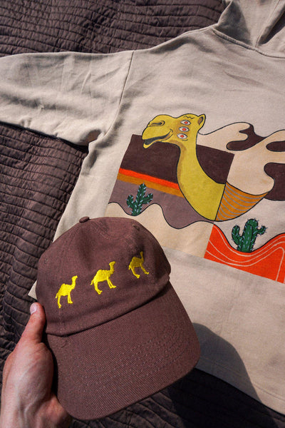Camel Trekking 6-Panel Cap - Mykes Lab clothing streetwear tshirt tee sweater hoodie garments