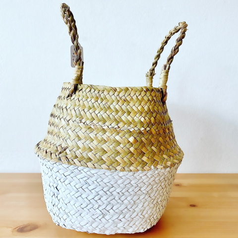 Seagrass Basket (Natural & White Large 27cm)