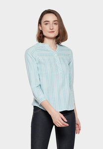 Aaryan Green Stripe White Blouse - KC - 370881  - Point One