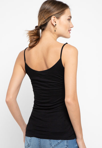 Black Basic Knit Tank  - 182640