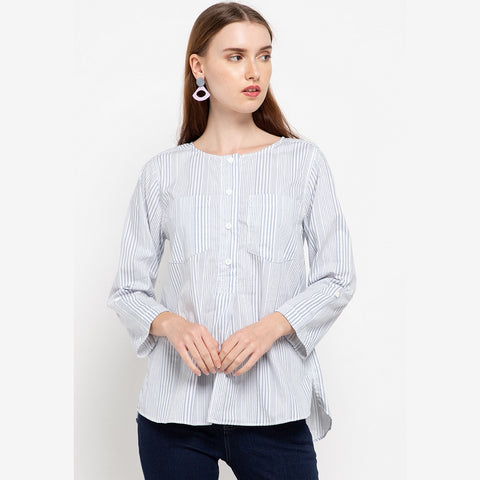DEBBIE Stripe Blue Blouse - 387281