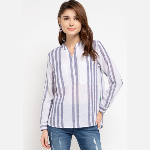 DANIA Linen Stripe Green Blouse - 383281