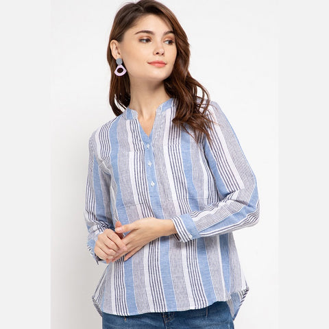 DANIA Linen Stripe Blue Blouse - 383181