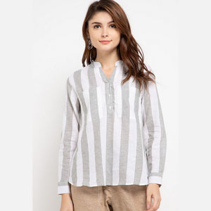 DANIA Linen Stripe Grey Blouse - 383381