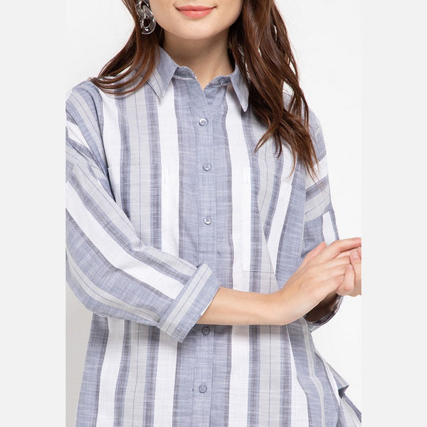 DESIRE G Oversized Grey Blouse - 385581