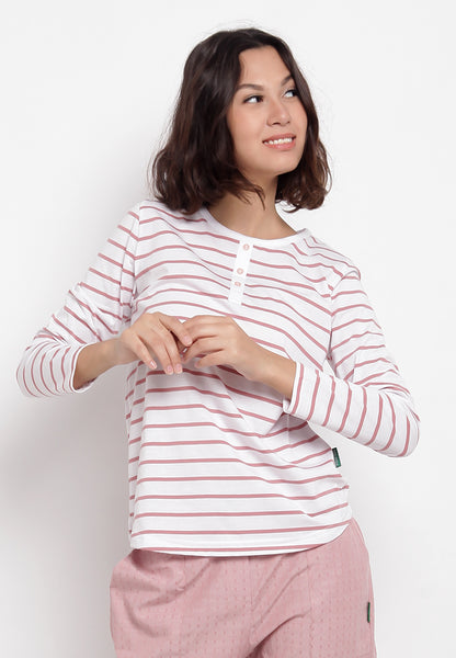FERLINA Stripe Tee Pink 384021