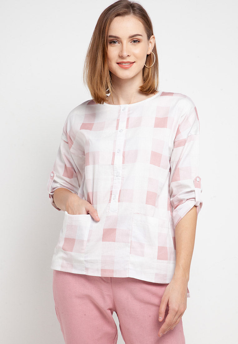 JANETH Plaid Blouse Pink 388781