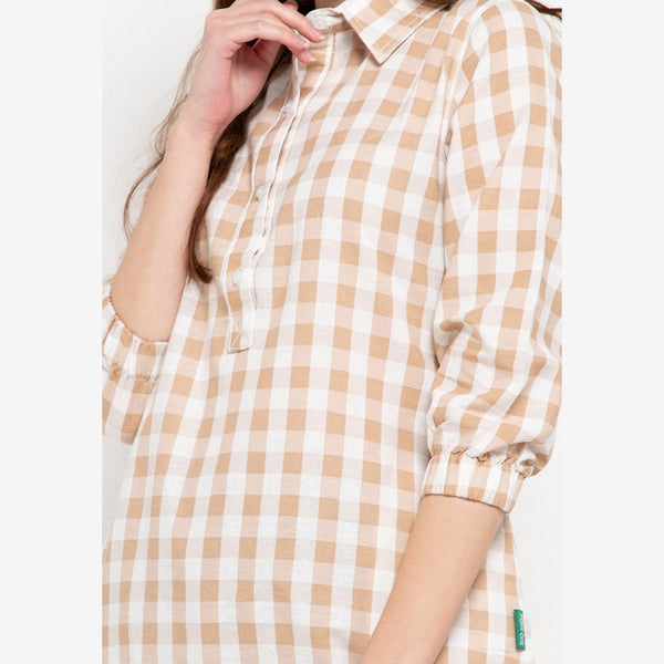 MOLLY Plaid Brown Blouse - 386481