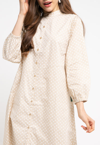 MONTANA Polkadot Dress Beige-393473