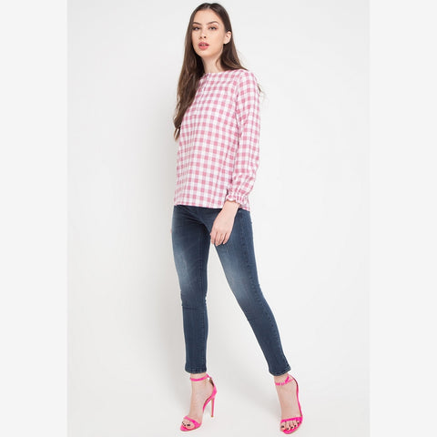 OLIVIA Plaid Pink Blouse - 386681