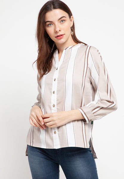 VIVIAN Stripe Brown Blouse 393281