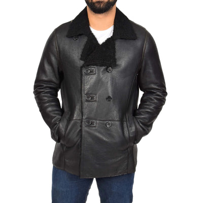 Selected Leather Reefer Jacket at Trendy UK Collection