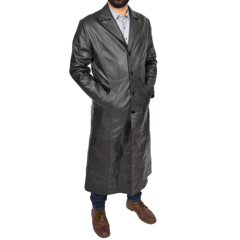 Mens Leather Overcoat Full Length Trench Coat