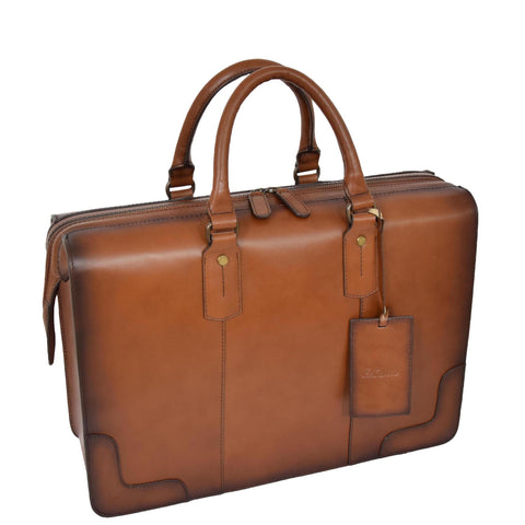 Tan Italian Leather Briefcase
