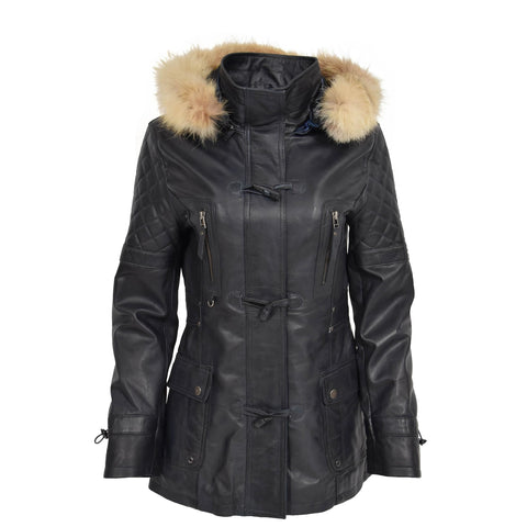 Leather Slim Fit Detachable Hood Parka Coat