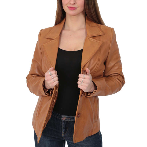 Ladies Leather Blazer Coat