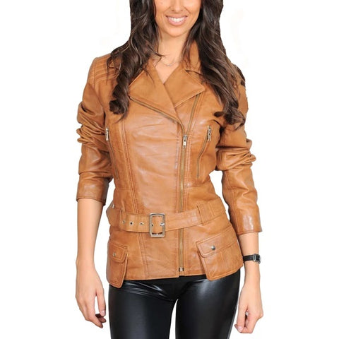 Mid Length Biker Leather Jacket