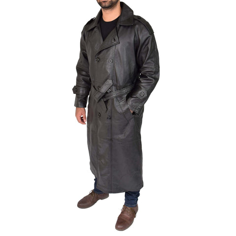 Mens Full Length Trench Leather Overcoat