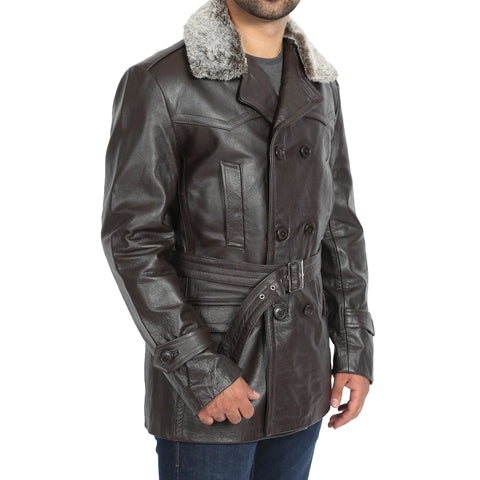 MENS REAL LEATHER MILITARY REEFER TRENCH COAT
