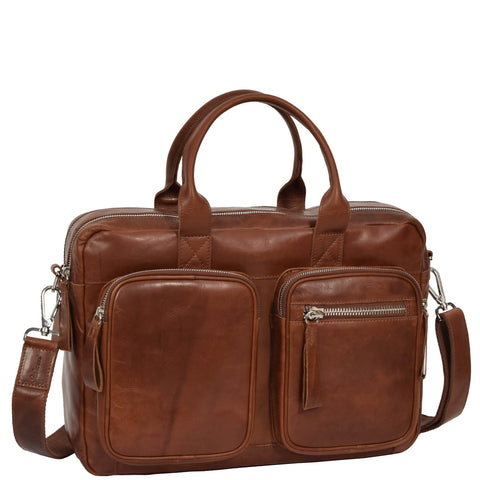 PURE LEATHER BRIEFCASE LAPTOP SATCHEL OFFICE BAG