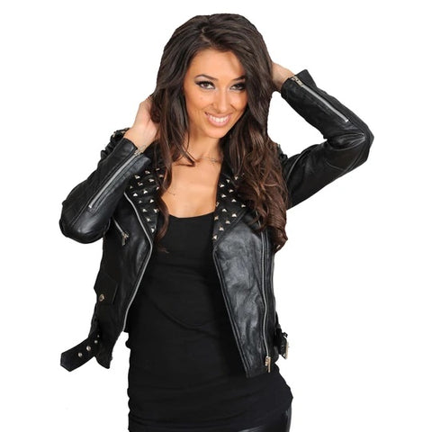 LADIES STUDDED CROPPED FITTED BIKER LEATHER JACKET