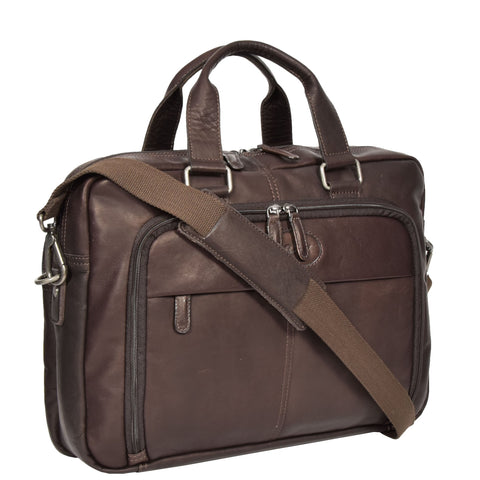 BROWN GENUINE LEATHER BRIEFCASE