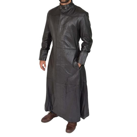 Mens Long Leather Overcoat