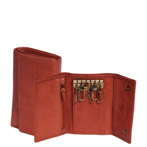 Soft Leather Key Wallet Trifold Purse