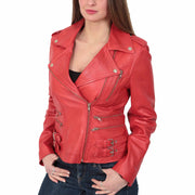 Womens Trendy Biker Leather Jacket Beyonce Red Front