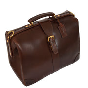 Genuine Leather Doctors Briefcase Gladstone Bag Duke Brown Front Angle