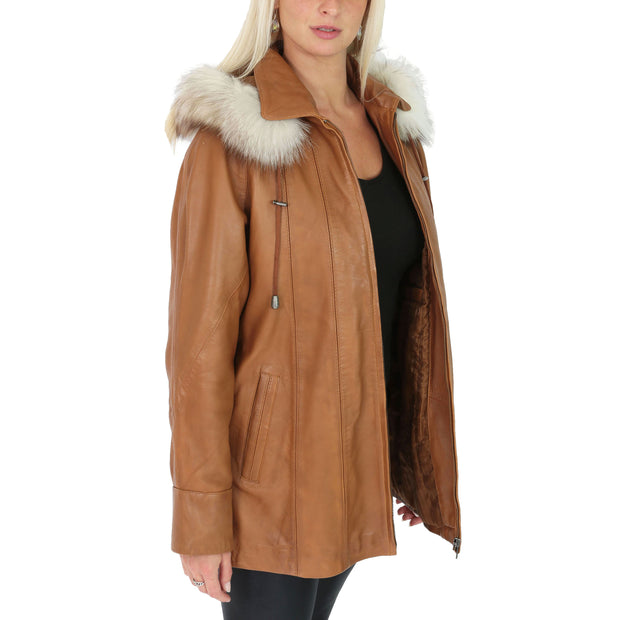 Womens Zip up Detachable Hood Parka Duffle Leather Coat Isabella Tan Open