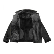 Womens Real Sheepskin Jacket Black X-Zip Aviator Belted Shearling Coat Willow Lining