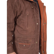 Gents Nubuck Leather Parka Coat Henry Brown feature