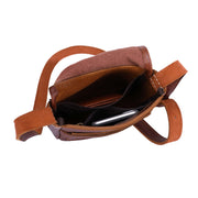 Womens Real Leather Cross Body Sling Bag Shoulder Pouch Rick Brown Open