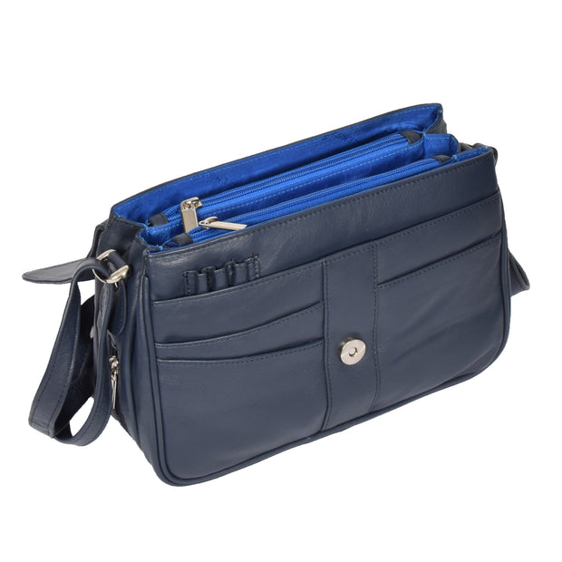 Womens Navy Leather Shoulder Messenger Handbag Ada Open 1